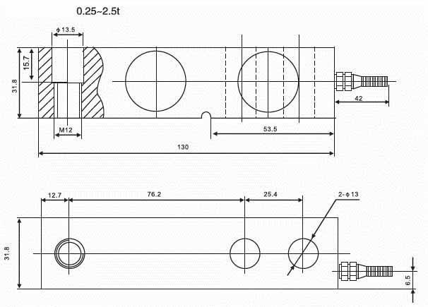 Kích thước lắp đặt Loadcell SQB-A 0.25~2.5t