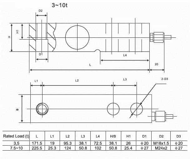Kích thước lắp đặt Loadcell SQB-A 3~10t